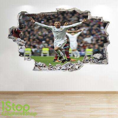 Fußball-schlafzimmer Dekorationen (Cristiano Ronaldo Wandaufkleber 3D Optik - Jungen Kinder Fußball Schlafzimmer)