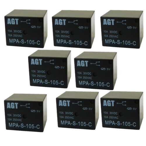 5V Relay 5VDC 10A 250VAC SPDT Power Mini Relay (10 Pack) from USA