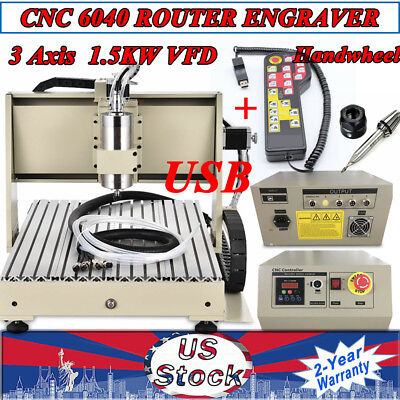 Usb 3 Axis Cnc 6040 Router Desktop Engraver Engraving Machine 1.5kw Handwheel