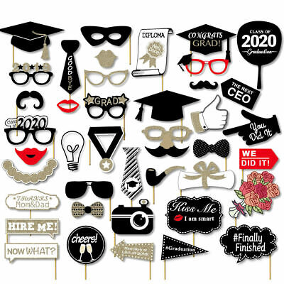 41PCS Class Of 2020 Graduation Party Masks Photo Booth Props Grad Party (Paper Booth)
