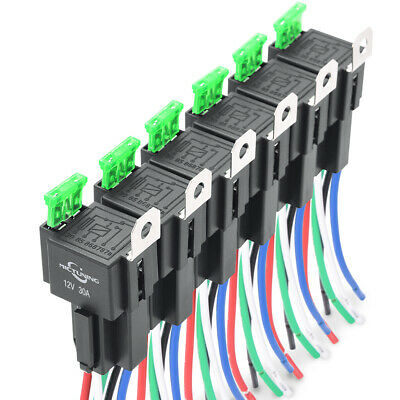 6Pcs 5pin Car SPDT Bosch Relay Switch Harness 30A ATO Fuse 14AWG Hot Wires Kit