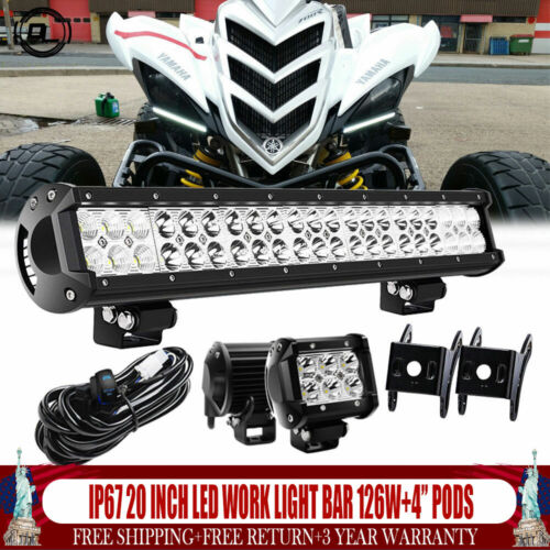 20 INCH LED Work Light Bar 126W Off Road 4WD ATV UTV FOR Yamaha Raptor 700R