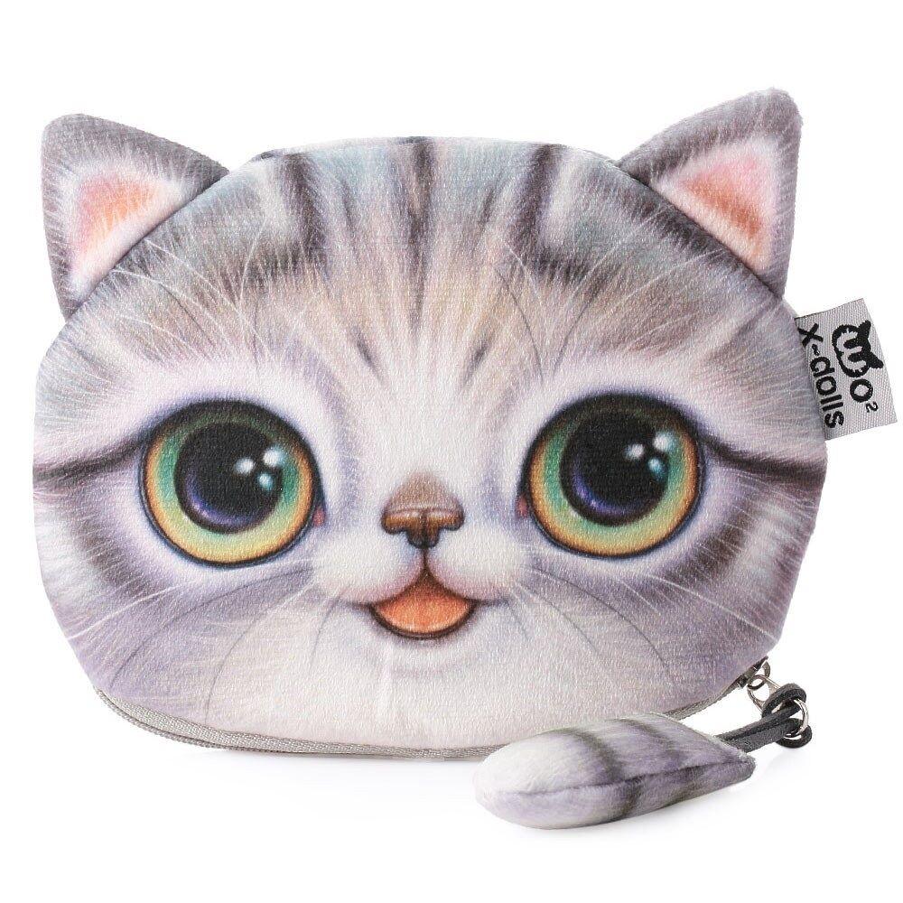 Flauschige Make-up Bag / Kosmetik- & Schminktasche mit süßem Katzenmotiv (Grau)