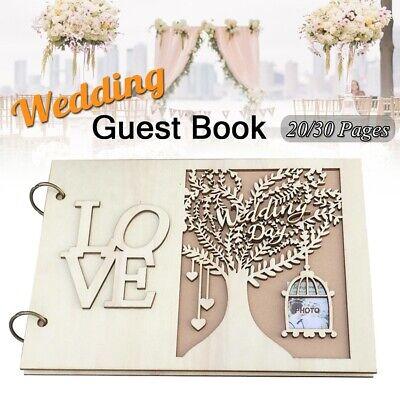 Wedding Decor Guest Book Wooden Tree Personalised Guest Book 20/30 Pages BR](Wedding Guest Tree)