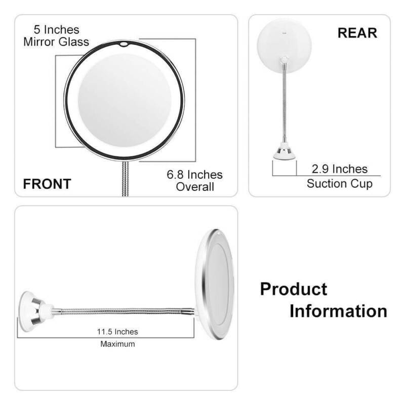 """NEW 14 LED Suction Cup Makeup Flexible Mirror 7"""" 10X Goodnec"""