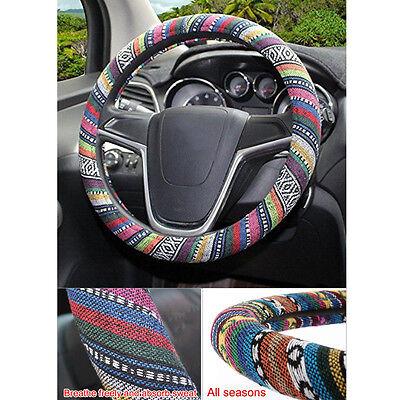 Universal 15''/38cm Fashion Natural Fibers Steering Wheel Cover Wrap Multi-Color