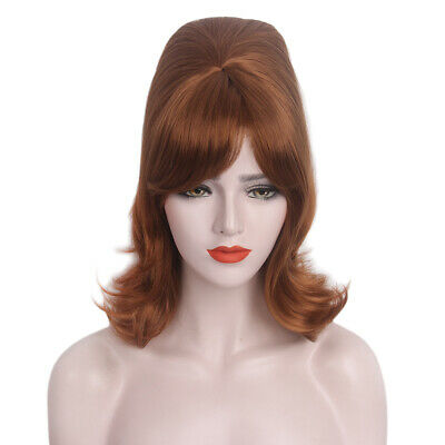 Beehive Wig Brown Medium Curly Hair Womens Halloween Cosplay Costume Party w/Cap - Halloween Costumes Curly Hair