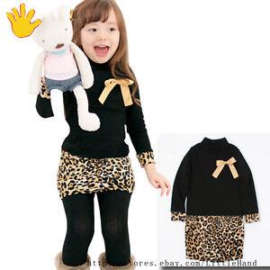 Cute-Kids-Black-Leopard-Bow-Ruffles-Dresses-Girls-Pageant-Dress-Size-3-8-Years