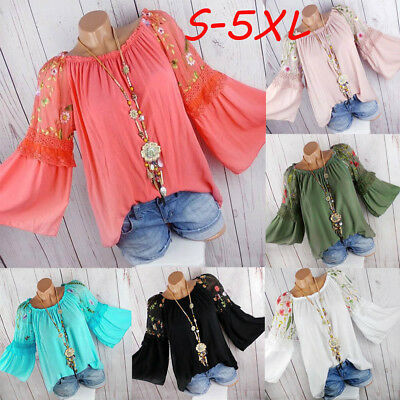 Women Long Sleeve Floral Tops Blouse Embroidery Lace Flare Sleeve T-shirt Top CO