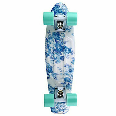 22 Cruiser Skateboard Penny Style Board Graphic Blue Floral Free Shipping