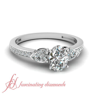 .85 Ct Oval Shaped Very Good Cut Diamond Engagement Ring Pave Set GIA Certified