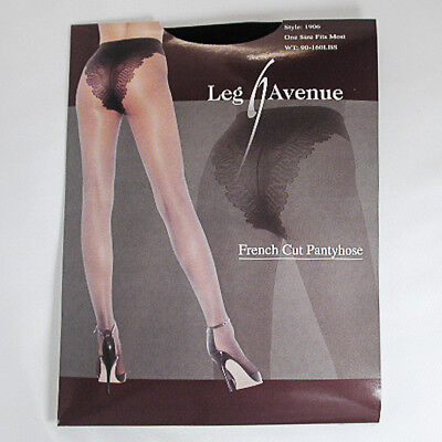 Sexy Black French Cut Pantyhose One Size With Spandex Great Stretch  - C334BK (Great Costumes For Women)