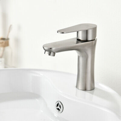 Brushed Nickel Bathroom Lavatory Sink Faucet Tap Single-Handle With Pop Up Drain