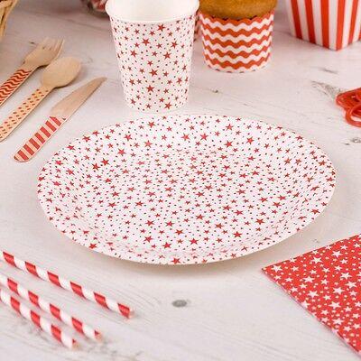 Pappteller Stars rot 8 Stück - Einwegteller Hochzeit Partyteller 23 cm (Rot Party Pappteller)