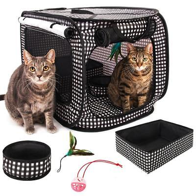 Cheering Pet, Portable Pop Up Cat Cage Pet Travel Crate with Collapsible...