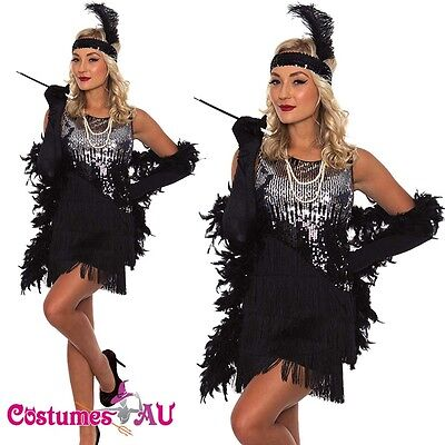 Ladies 20s 1920s Charleston Flapper Chicago Fancy Dress Costume Free Necklace (Chicago Costumes)