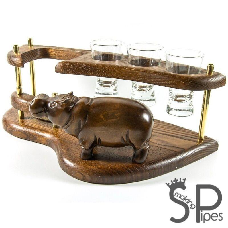 "wooden vodka/shot set ""Hippo"". Best HANDMADE accessories for home / office"