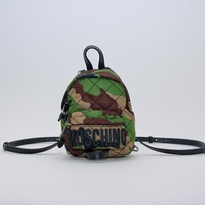 Brown Camouflage Backpack - AW17 Moschino Couture Jeremy Scott GREEN BROWN CAMOUFLAGE NYLON MINI BACKPACK