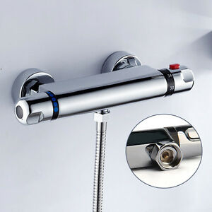 Modern Chrome Thermostatic Exposed Bar Mixer Shower Valve Round Bottom Outlet
