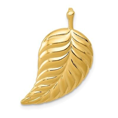 14k Yellow Gold Polished Leaf Chain Slide Charm Pendant 0.91 Inch