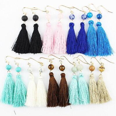 Fashion Bohemian Earrings Women Vintage Tassel Fringe Boho Nature Stone (Stone Fashion Earrings)
