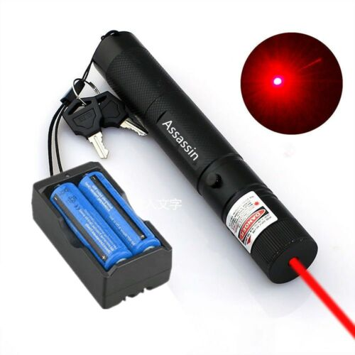 650nm Cat Toy Red Laser Pointer Pen Visible Beam Light 18650 Battery+Charger US