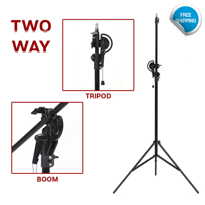 "110"" 2 Way Photography Rotatable Photo Studio Boom Stand Continuous Lighting"
