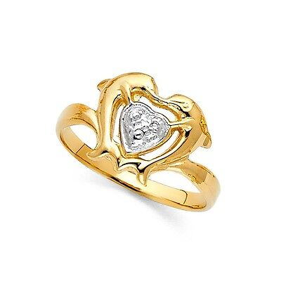 (Dolphin Heart Ring Solid 14k Yellow & White Gold Fancy Design Polished Finish)