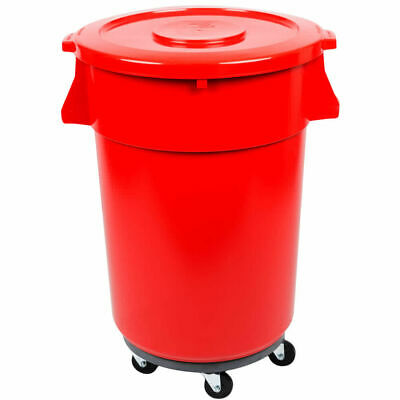 32 Gallon Trash Can Ingredient Bin Lid Dolly Commercial Kit Recycling Nsf Red