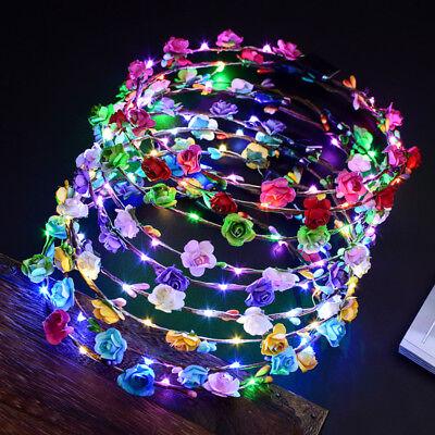 LED Flower Wreath Hair Headband Headdress Wedding Crown Floral Garland DIY Gift