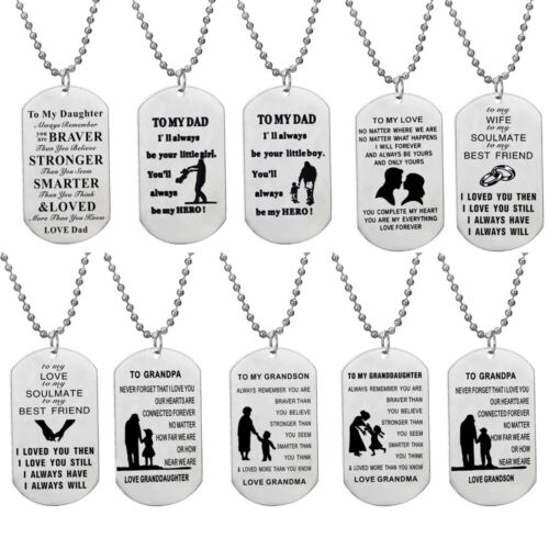 Stainless Steel Tag Necklace Men Women Gifts For Kids Son Da