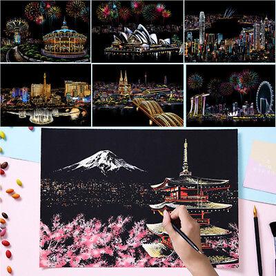 16.1x11.3in Magic Scratch Art Painting Paper With Drawing Stick Kids Best - Scratch Paper Art