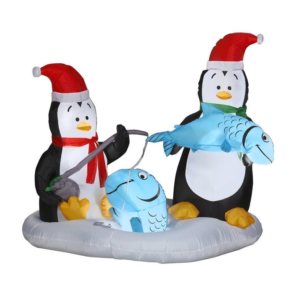 Animated Penguins Ice Fishing W/ Rod & Pole Christmas Airblown Inflatable Decor