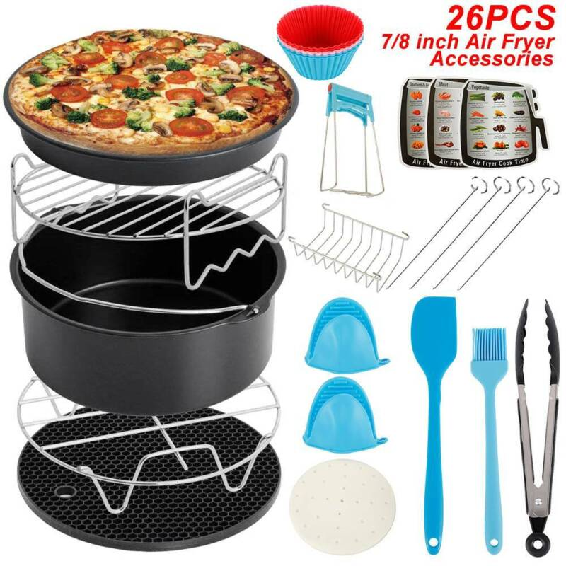 AU26x Air Fryer Frying Cage Dish Baking Pan Rack Pizza Tray