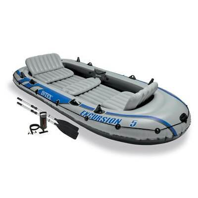 Intex Excursion 5 Person Inflatable Rafting & Fishing Boat Set w/ 2 Oars & Pump