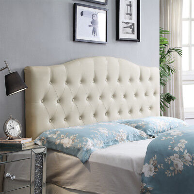 HOME BI Upholstered Tufted Button Curved Shape Linen Fabric Headboard Full/Queen for sale  USA