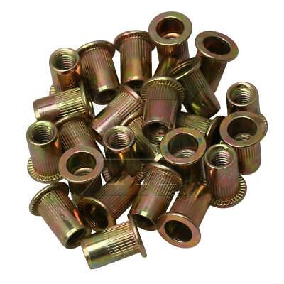 25pcs Carbon Steel M6x6mm Thread Rivet Nuts Flat Head Insert Nutsert S3