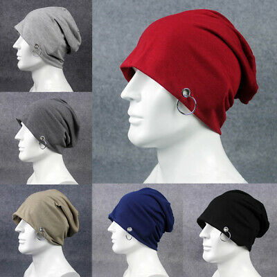 Herren lässig übergroße Kappe Hut Einfarbig Slouchy Metallring Beanie Mützen