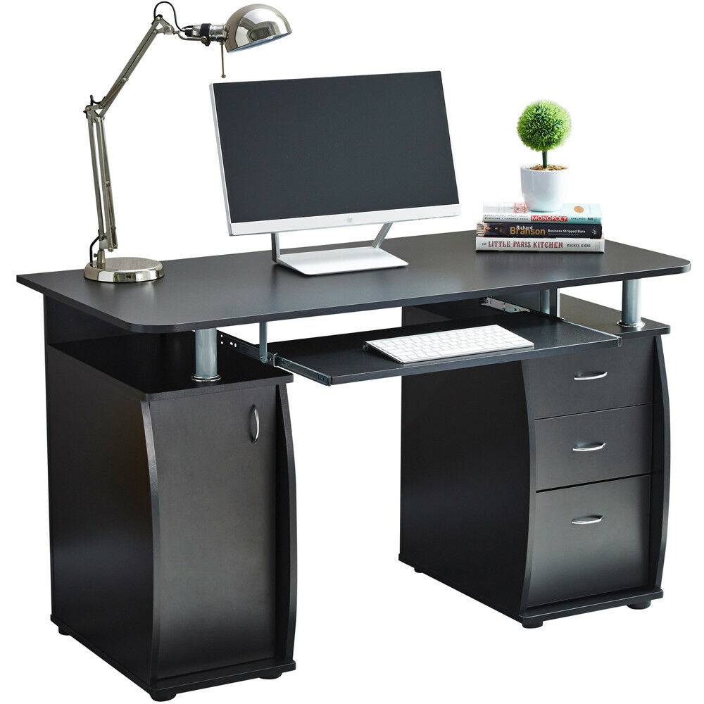 RayGar Black Computer Desk With Cabinet And 3 Drawers For