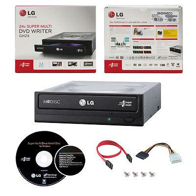 LG 24x Dvd Cd Burner+software+sata Cable Gh24nsc0r Intern...