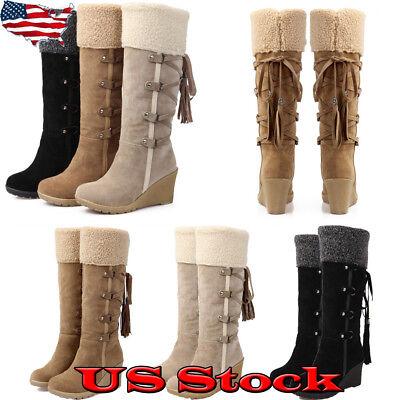 Winter Warm Women Ladies High Wedge Heel Lace Up Fur Linen Knee High Snow Boot