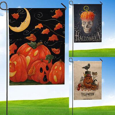 Halloween Garden Flag Indoor Outdoor Home Decor Letters Flowers Flag 12'' x 18'' ()
