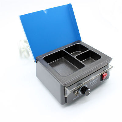 Dental Lab 3-well Melting Pot Analog Wax Heater Warmer Pot Waxing Melter Dipping