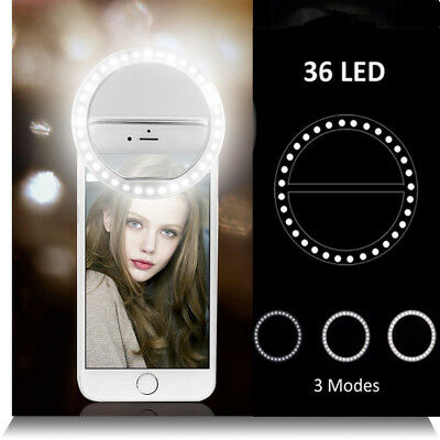 Rechargeable Portable Selfie LED Camera Ring Flash Fill Light For iPhone Samsung