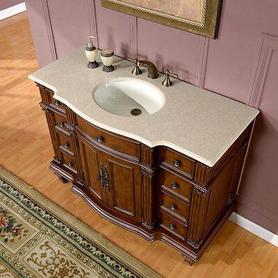 """48"""" Gorgeous Marble Top Ceramic Single Sink Bathroom Vanity Cabinet 277CM"""