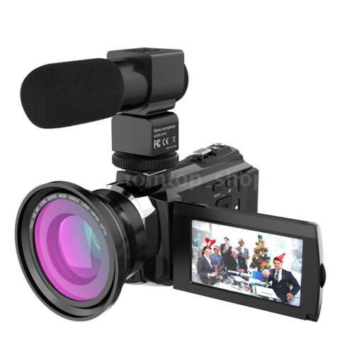 WiFi 4K ULTRA HD 1080P 48MP Digital Video Camera Camcorder Recorder DV+Mic+Lens