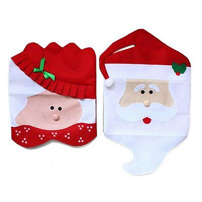 Chair Back Covers, Set of 2 Mr & Mrs Santa Claus , Christmas Dinner Party Table
