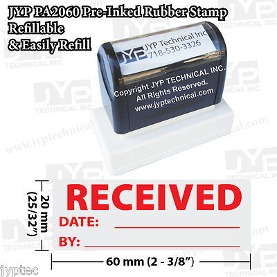 New Jyp Pa2060 Pre-inked Rubber Stamp With Received W. Date And By
