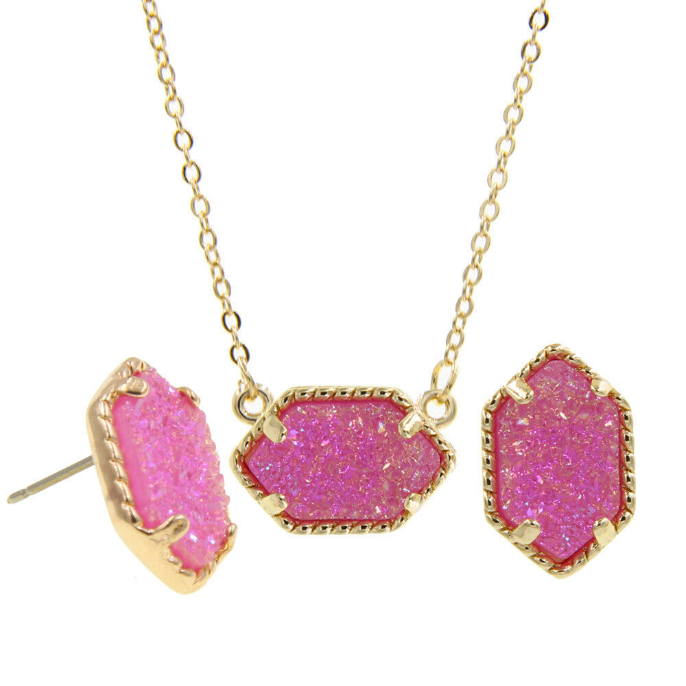 f5da9ad6b3cee Women's AB Iridescent Druzy Studs Earrings and Cute Necklace Jewelry ...