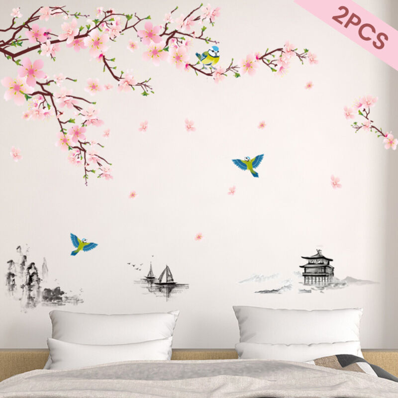 Home Decoration - 2PCS Cherry Blossom Flower Butterfly Tree Wall Stickers Art Decal Home Decor UK